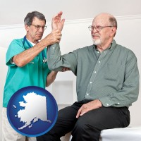 ak map icon and a rheumatologist checking a painful elbow
