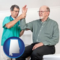 al map icon and a rheumatologist checking a painful elbow