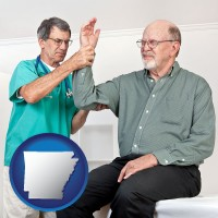 ar map icon and a rheumatologist checking a painful elbow