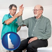de a rheumatologist checking a painful elbow