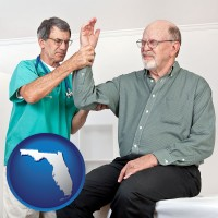 fl map icon and a rheumatologist checking a painful elbow