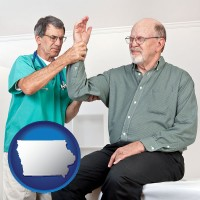 ia map icon and a rheumatologist checking a painful elbow