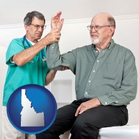 id map icon and a rheumatologist checking a painful elbow