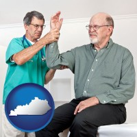 ky map icon and a rheumatologist checking a painful elbow