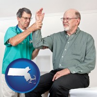 ma map icon and a rheumatologist checking a painful elbow