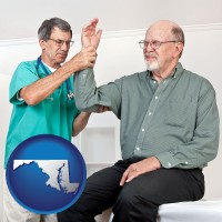 md map icon and a rheumatologist checking a painful elbow
