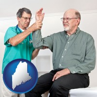 me map icon and a rheumatologist checking a painful elbow