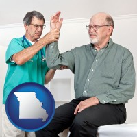 mo a rheumatologist checking a painful elbow