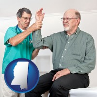 ms map icon and a rheumatologist checking a painful elbow