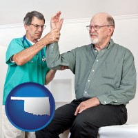 ok map icon and a rheumatologist checking a painful elbow