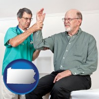 pa a rheumatologist checking a painful elbow
