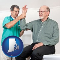 ri a rheumatologist checking a painful elbow