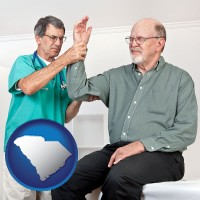 sc map icon and a rheumatologist checking a painful elbow