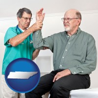 tn a rheumatologist checking a painful elbow