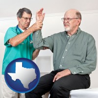 tx map icon and a rheumatologist checking a painful elbow
