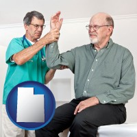 ut a rheumatologist checking a painful elbow