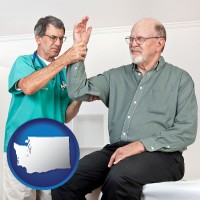 wa a rheumatologist checking a painful elbow